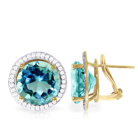 Blue Topaz and Diamond French Clip Halo Earrings 15.6ct in 9ct Gold