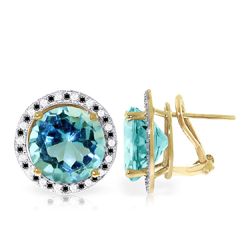 Blue Topaz and Diamond Stud French Clip Earrings 15.6ctw in 9ct Gold