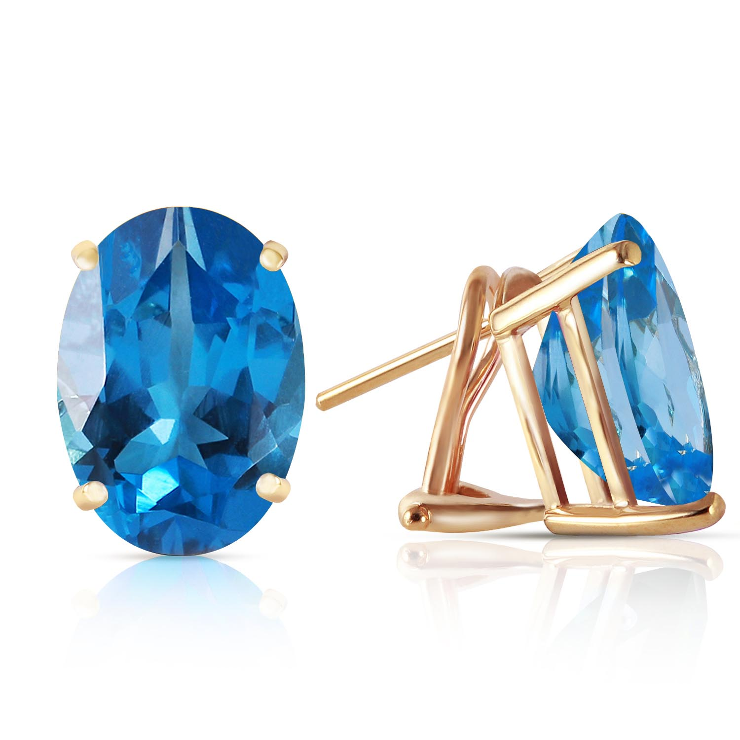 Blue Topaz Stud Earrings 16.0ctw in 9ct Gold