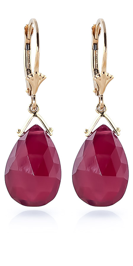 Ruby Droplet Briolette Earrings 16.0ctw in 9ct Gold