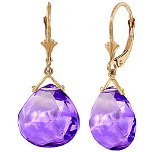 Amethyst Star Heart Drop Earrings 17.0ctw in 9ct Gold
