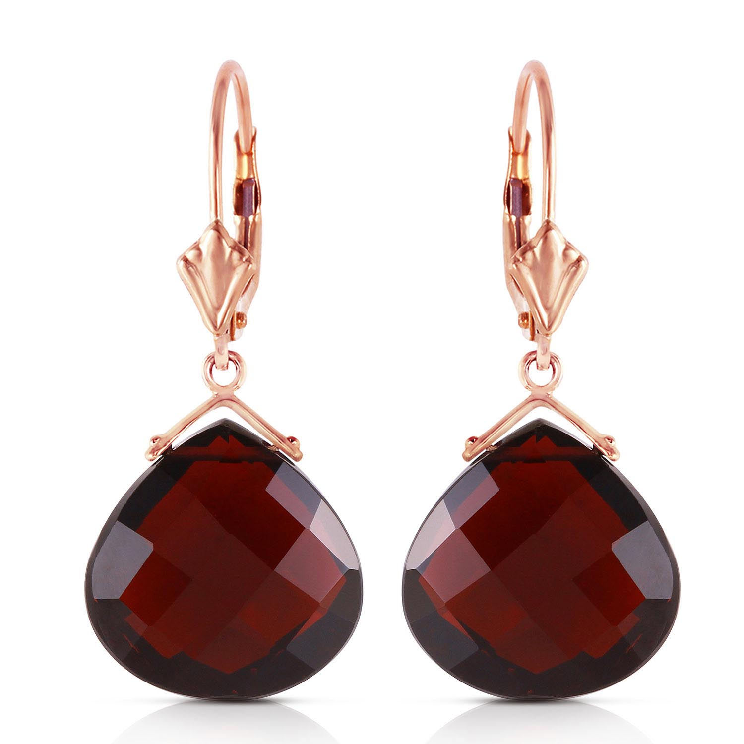 Garnet Star Heart Drop Earrings 17.0ctw in 9ct Gold
