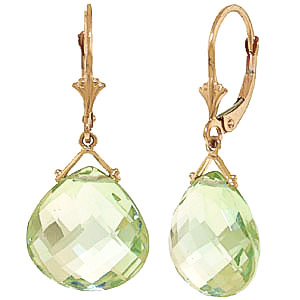 Green Amethyst Star Heart Drop Earrings 17.0ctw in 9ct Gold