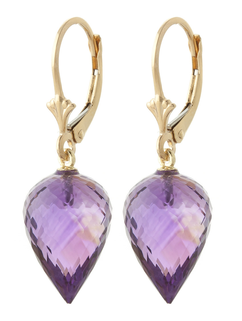 Amethyst Briolette Drop Earrings 19.0ctw in 9ct Gold