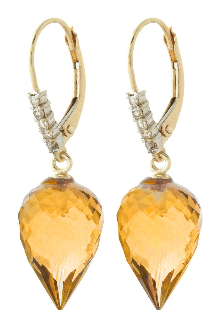Citrine and Diamond Drop Earrings 19.0ctw in 9ct Gold