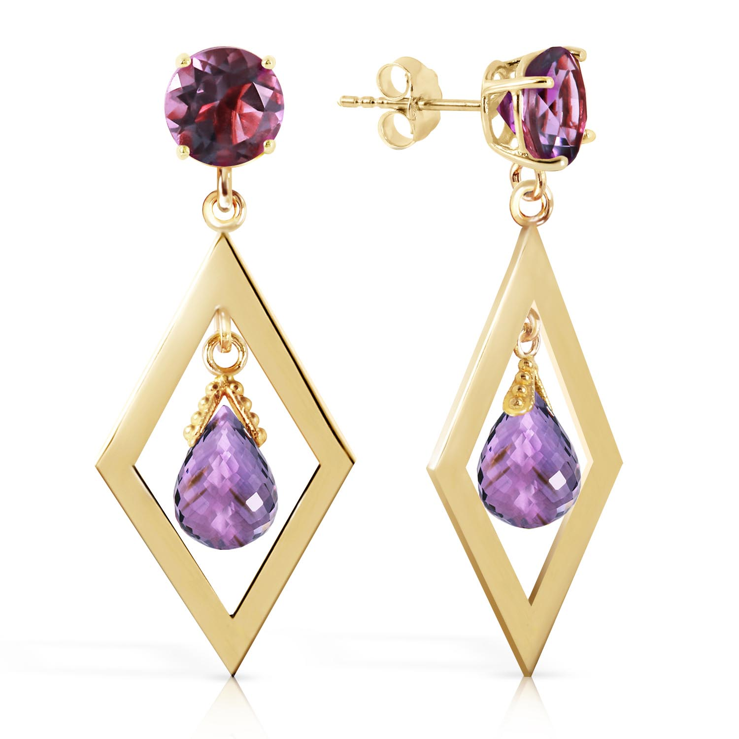 Amethyst Kite Drop Earrings 2.4ctw in 9ct Gold