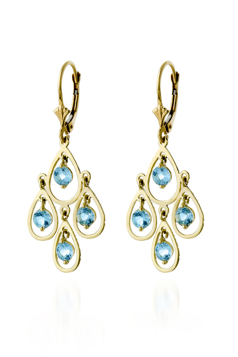 Aquamarine Quadruplo Milan Drop Earrings 2.4ctw in 9ct Gold