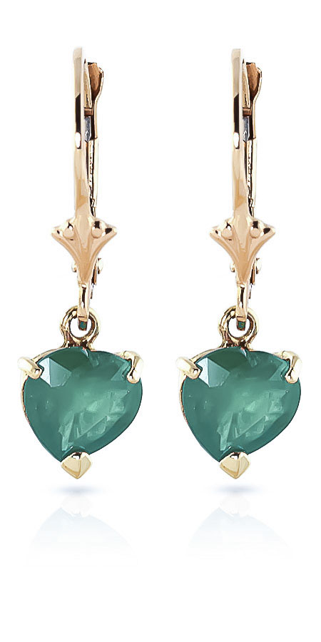 Emerald Heart Drop Earrings 2.4ctw in 9ct Gold