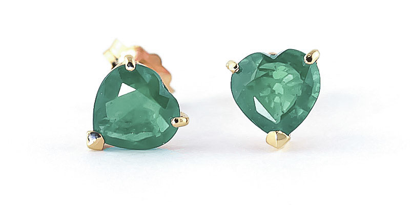 Emerald Heart Stud Earrings 2.4ctw in 9ct Gold