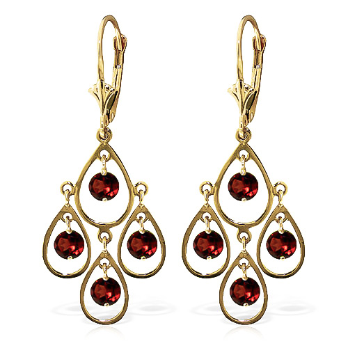 Garnet Quadruplo Milan Drop Earrings 2.4ctw in 9ct Gold