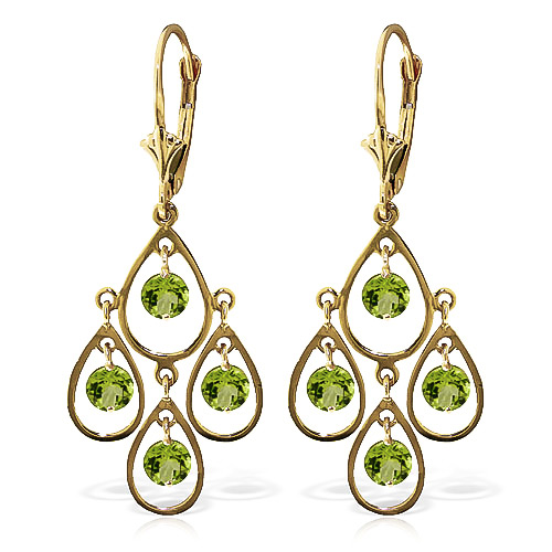 Peridot Quadruplo Milan Drop Earrings 2.4ctw in 9ct Gold