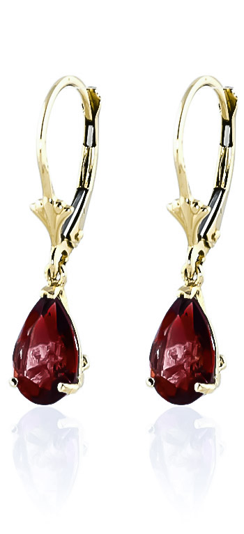 Garnet Belle Drop Earrings 2.45ctw in 9ct Gold
