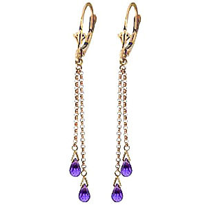 Amethyst Demi Chain Briolette Drop Earrings 2.5ctw in 9ct Gold