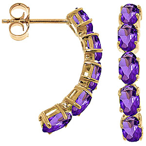Amethyst Linear Stud Earrings 2.5ctw in 9ct Gold