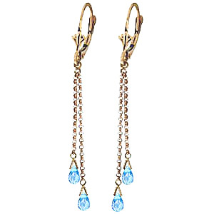 Blue Topaz Demi Chain Briolette Drop Earrings 2.5ctw in 9ct Gold