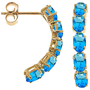 Blue Topaz Linear Stud Earrings 2.5ctw in 9ct Gold