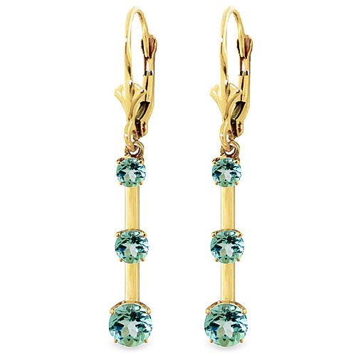 Blue Topaz Bar Drop Earrings 2.5ctw in 9ct Gold