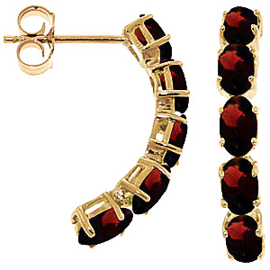 Garnet Linear Stud Earrings 2.5ctw in 9ct Gold