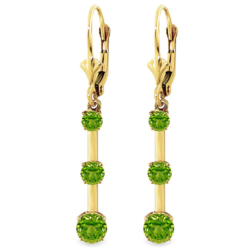 Peridot Bar Drop Earrings 2.5ctw in 9ct Gold