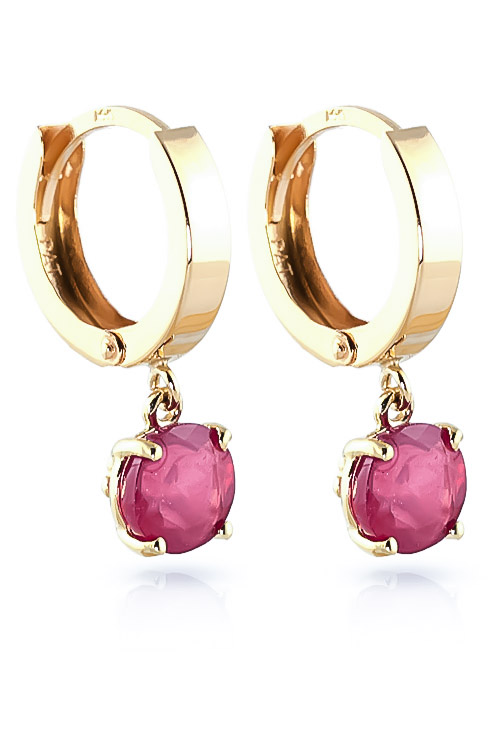 Ruby Huggie Drop Earrings 2.5ctw in 9ct Gold