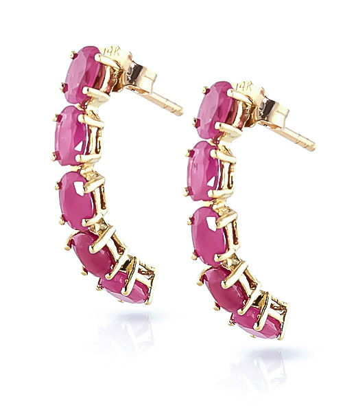 Ruby Linear Stud Earrings 2.5ctw in 9ct Gold
