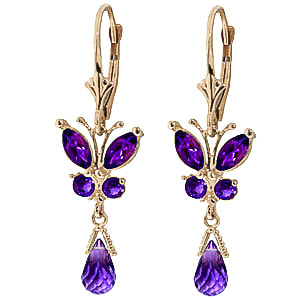 Amethyst Butterfly Drop Earrings 2.74ctw in 9ct Gold