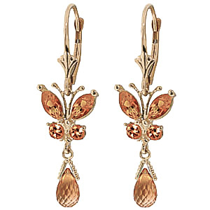 Citrine Butterfly Drop Earrings 2.74ctw in 9ct Gold