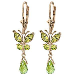 Peridot Butterfly Drop Earrings 2.74ctw in 9ct Gold