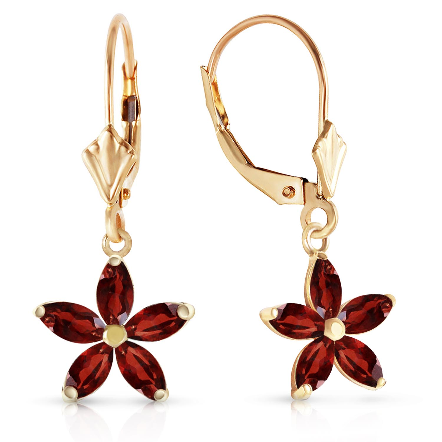 Garnet Flower Star Drop Earrings 2.8ctw in 9ct Gold