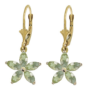 Green Amethyst Flower Star Drop Earrings 2.8ctw in 9ct Gold