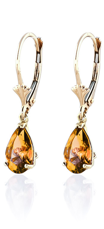 Citrine Belle Drop Earrings 2.85ctw in 9ct Gold