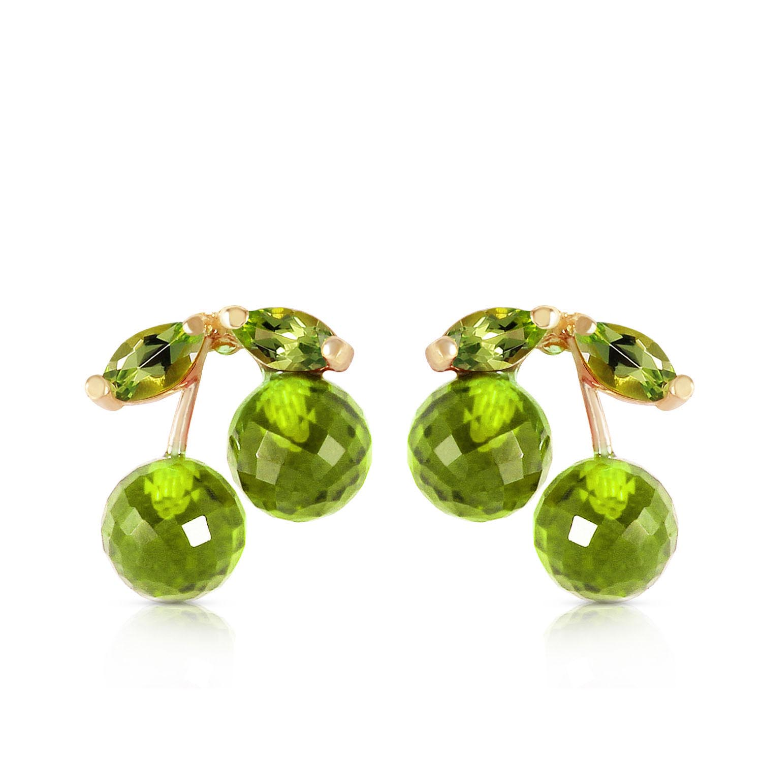 Peridot Cherry Drop Stud Earrings 2.9ctw in 9ct Gold