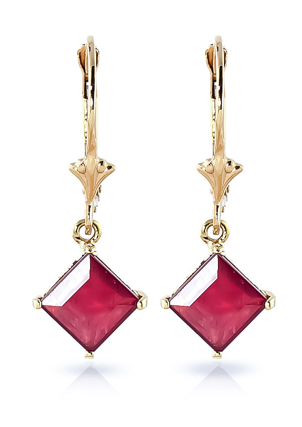Ruby Drop Earrings 2.9ctw in 9ct Gold