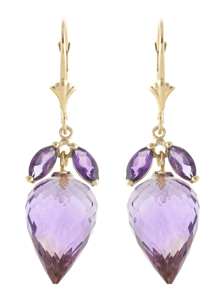 Amethyst Briolette Drop Earrings 20.0ctw in 9ct Gold