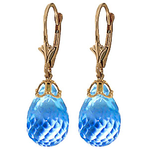 Blue Topaz Crown Briolette Drop Earrings 20.5ctw in 9ct Gold