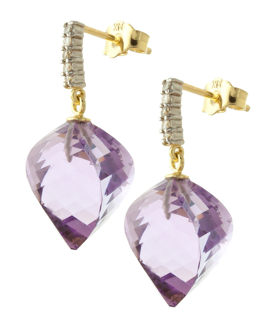 Amethyst and Diamond Stud Earrings 21.5ctw in 9ct Gold