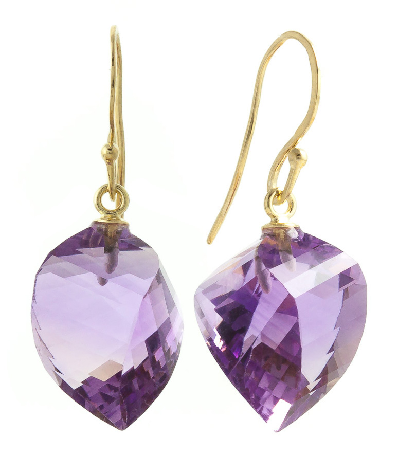 Amethyst Spiral Briolette Drop Earrings 21.5ctw in 9ct Gold