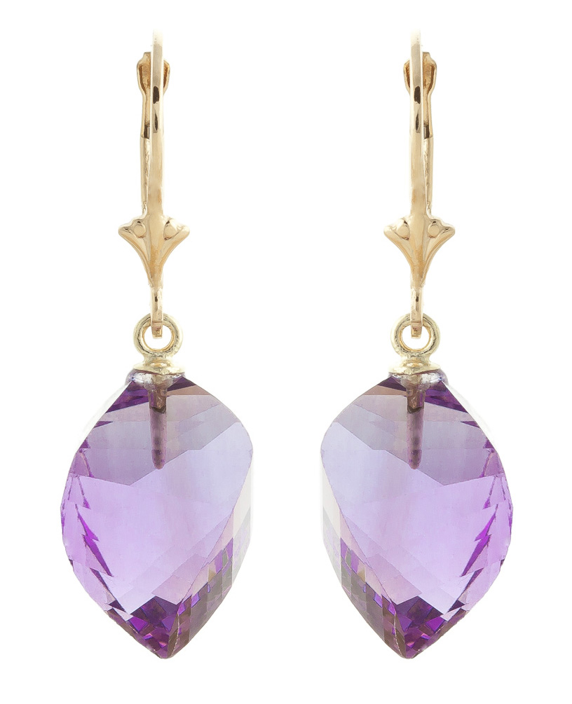 Amethyst Briolette Drop Earrings 21.5ctw in 9ct Gold