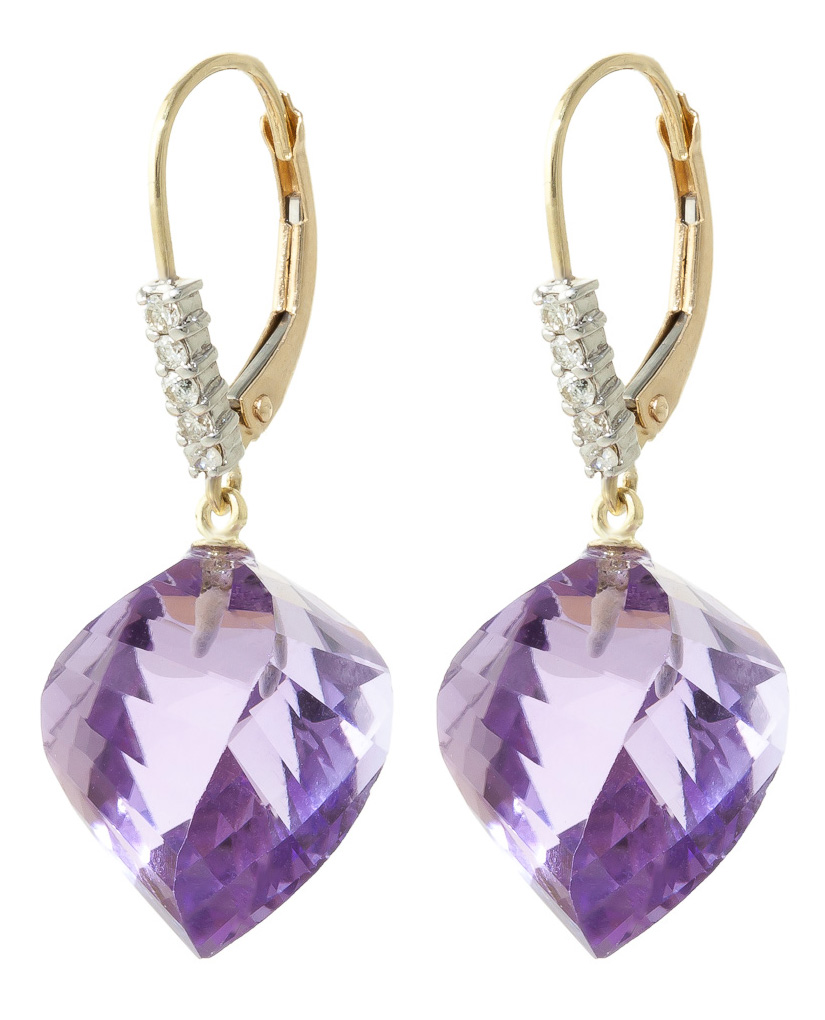 Amethyst and Diamond Drop Earrings 21.5ctw in 9ct Gold