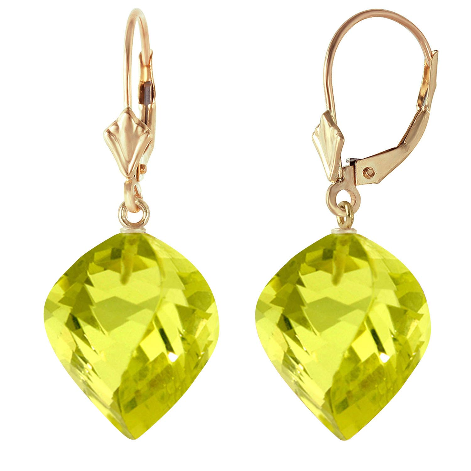 Lemon Quartz Briolette Drop Earrings 21.5ctw in 9ct Gold