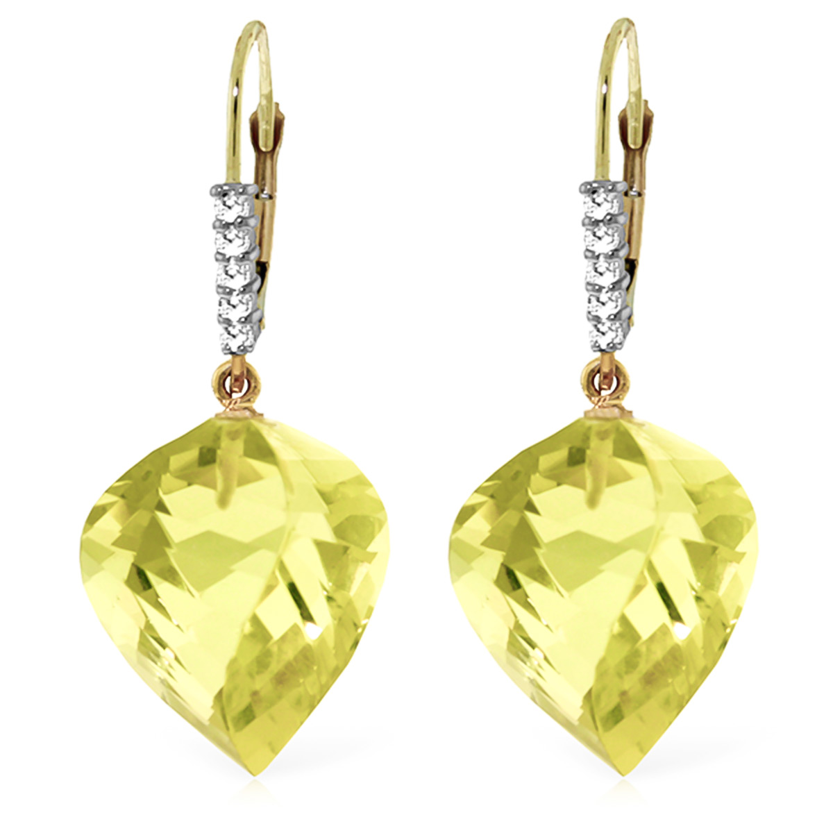 Lemon Quartz and Diamond Drop Earrings 21.5ctw in 9ct Gold