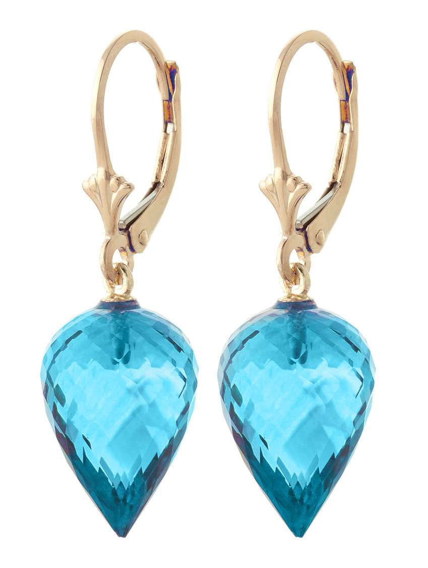 Blue Topaz Briolette Drop Earrings 22.5ctw in 9ct Gold