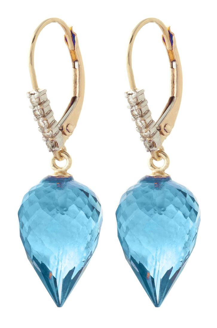 Blue Topaz and Diamond Drop Earrings 22.5ctw in 9ct Gold