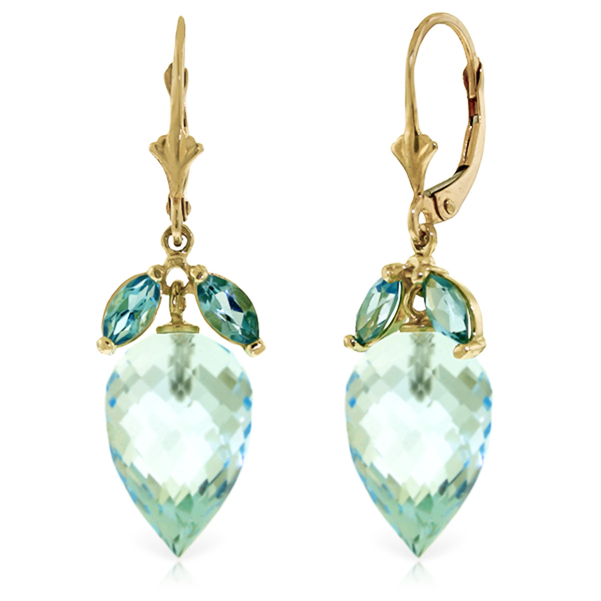 Blue Topaz Briolette Drop Earrings 23.5ctw in 9ct Gold