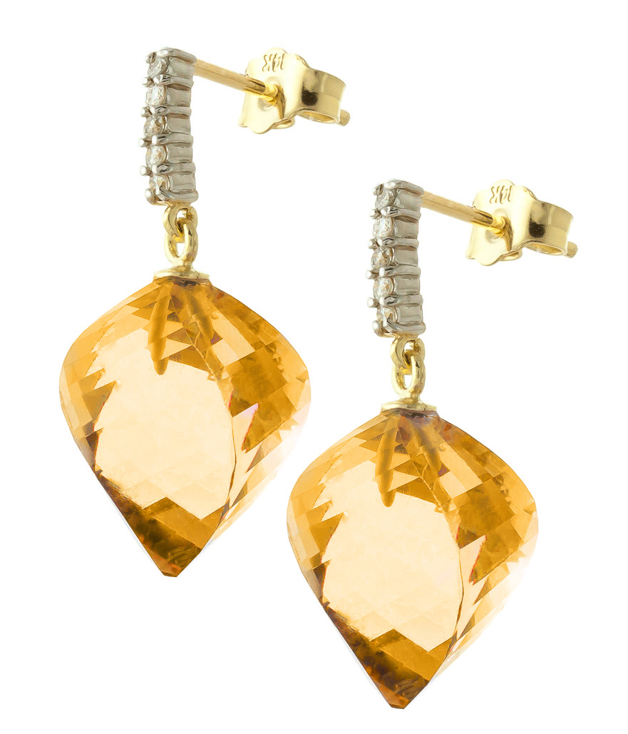 Citrine and Diamond Stud Earrings 23.5ctw in 9ct Gold