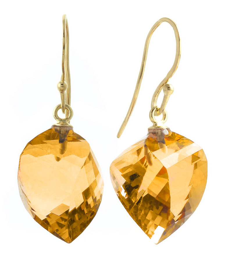 Citrine Spiral Briolette Drop Earrings 23.5ctw in 9ct Gold