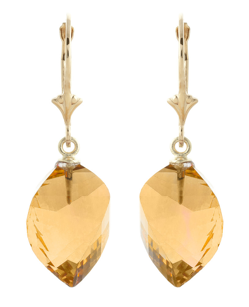 Citrine Briolette Drop Earrings 23.5ctw in 9ct Gold