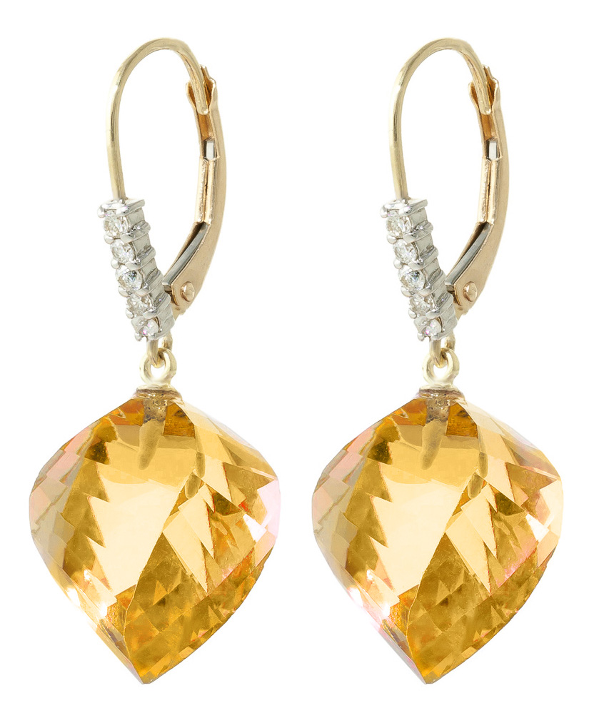 Citrine and Diamond Drop Earrings 23.5ctw in 9ct Gold