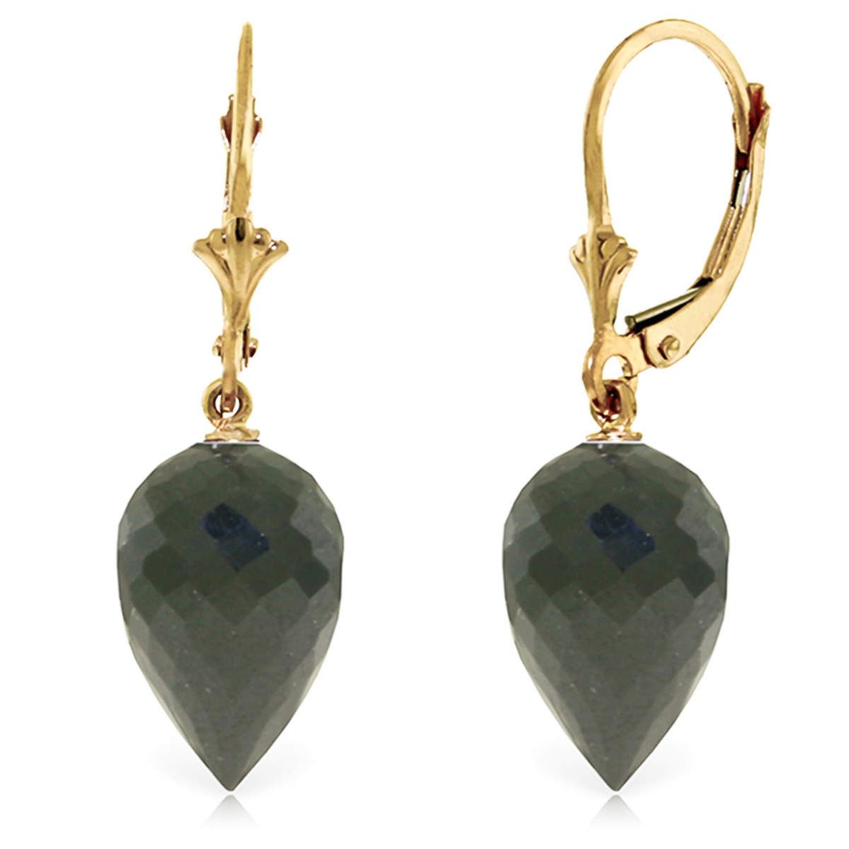 Black Spinel Briolette Drop Earrings 24.5ctw in 9ct Gold