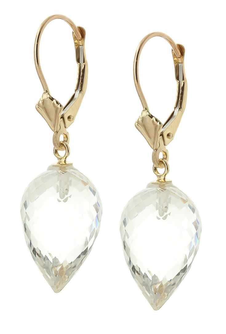 White Topaz Briolette Drop Earrings 24.5ctw in 9ct Gold